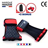 Neotrive Pull Up Grips, Hand Grips, Wodies für Calisthenics, Crossfit, Freeletics, Gymnastik, Turnen - Alternative für Trainingshandschuhe und Fitness Handschuhe (ROT, L)