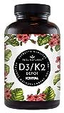 Vitamin D3 + K2 Tabletten - 180 Stück - Hochdosiert mit 5000 I.E. Vitamin D3 und 100 mcg Vitamin K2 pro EINER Tablette - Hochwertig: 99,7+% All-Trans MK7 (K2VITAL) - in Deutschland produziert