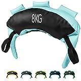 POWRX Bulgarien Gewichts Bag I 5 kg, 8 kg, 12 kg, 17 kg, 22 kg I Kunstleder Sandsack für Functional Fitness (8 kg Schwarz/Hellblau)