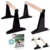 PULLUP & DIP Holz Parallettes, Low & Medium Minibarren Handstand Barren mit ergonomischem Holz Griff, Liegestützgriffe Push-up Bars für Calisthenics und Turnen, In- und Outdoor (MEDIUM Parallettes)
