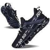 JSLEAP Sneaker Damen Atmungsaktiv Turnschuhe Leicht Laufschuhe Sportschuhe Freizeitschuhe für Herren Damen 1c-Schwarz,Größe 40 EU/250 CN