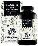NATURE LOVE L-Arginin Base mit Citrullin - Einführungspreis - Premium: pflanzliches Arginin in BASE Form mit 99,7+% Reinheit - 365 Kapseln - Hochdosiert, vegan, hergestellt in Deutschland