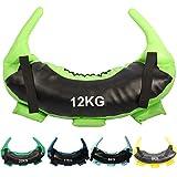 POWRX Bulgarien Gewichts Bag I 5 kg, 8 kg, 12 kg, 17 kg, 22 kg I Kunstleder Sandsack für Functional Fitness (12 kg Schwarz/Hellgrün)