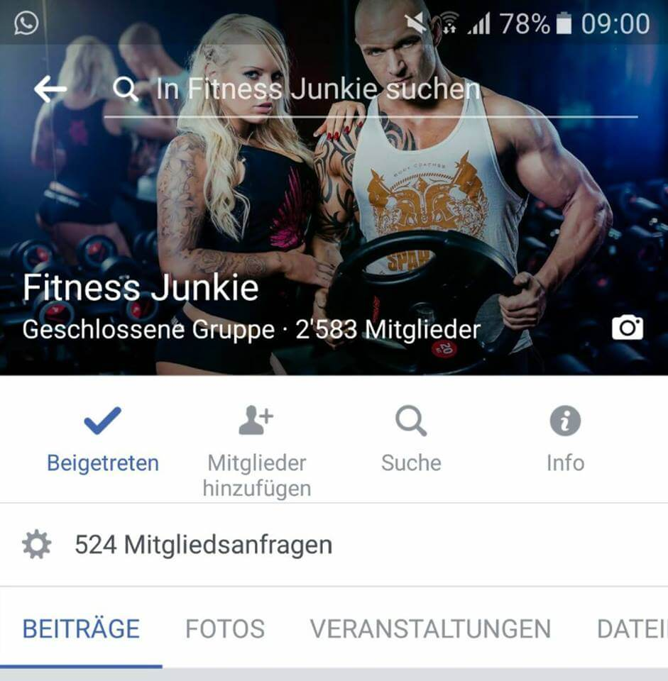 "Start der Facebookgruppe ""Fitness Junkie"